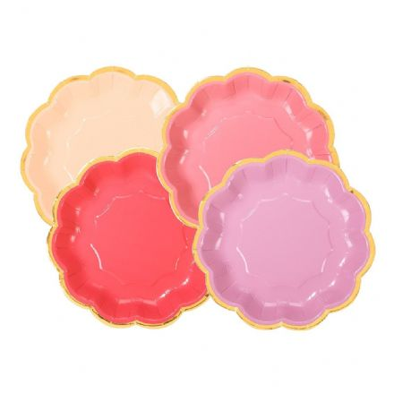 Rose Pink & Gold Paper Party Plates - small